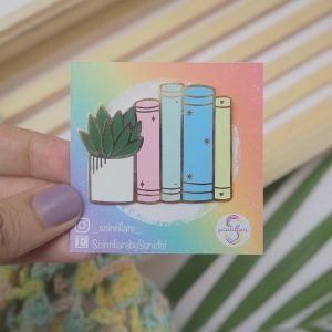 Books and Plants Enamel Pin | Enamel Pin By Scintillare